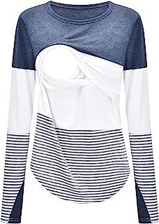 YXZFZ 女式长袖圆领分层孕妇条纹哺乳束腰衬衫