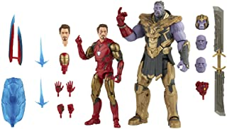 Marvel 漫威 Hasbro 传奇系列 6 英寸(约 15.2 厘米)动作公仔 2 件装玩具钢铁侠 Mark 85 vs Thanos,无限传奇人物,高级设计,2 个人偶和 8 个配件