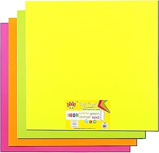 4A 粘性大垫,22 x 22 英寸(约 55.88 x 55.88 厘米),大号,霓虹黄色、橙色、红色和*,自粘便条,20 张/垫,4 张/包,4A BP 222-Nx4