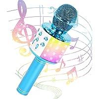 JMFinger 卡拉 OK 麦克风,适用于儿童和成人,无线便携式手持蓝牙麦克风 带 LED 灯 - *佳礼物(蓝色)