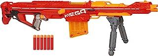 NERF 热火 Centurion 巨型爆破玩具枪,带折叠双脚架,6支飞镖夹,6个官方巨型飞镖,适用于儿童,青少年和成人,灰色,常规