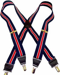 HoldUp *蓝和红色条纹带象牙色条纹背带 X 背带风格带 防滑金色调夹
