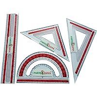 PARTH IMPEX 透明塑料数学几何工具套装(4 包)尺长推车套装方形三角形