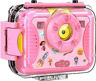 VanTop Junior K8 儿童相机带 32GB 存储卡,自拍 1080P 支持的防水视频摄像机 w/ 8MP 2.4 英寸大屏幕,填充灯,面部识别,4 种游戏,额外的防儿童硅胶壳Junior K8  粉红色