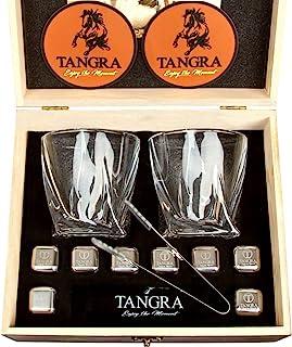 TANGRA 威士忌花岗岩石奢华礼品 8 件套冰块。可重复使用冰淇淋岩 + 2 个常规尺寸苏格兰玻璃杯,木盒和天鹅绒袋 STAINLESS STEEL STONES GIFT SET 8 granite stones