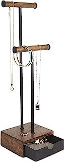 Umbra Pillar 珠宝架/珠宝收纳盒胡桃木和黑色金属首饰架带抽屉