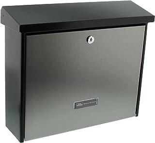 BURG-WÄCHTER 信箱无报纸格层和姓名牌,镀锌钢&不锈钢,插入格式DIN C4,包括2个钥匙,伦敦6867 B+S,不锈钢/黑色(类似RAL 9005)