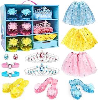 Meland Princess 装扮 - 小女孩服装套装,带 3 个彩色裙子,3 双鞋跟鞋,2 个皇冠头饰,小女孩幼儿配饰,适合生日圣诞派对礼物