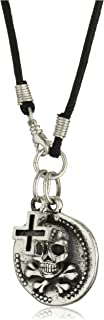 King Baby Coin Men's Large Skull and Cut-Out Cross on Cord Necklace