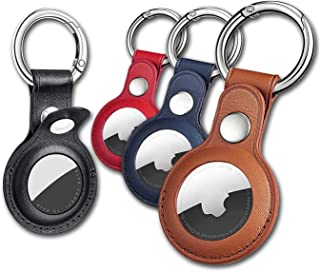 AirTag 钥匙扣适用于 Apple Airtags 支架,4 件装保护性皮革 Airtags 保护套跟踪器保护套带空气标签支架,Airtag 钥匙圈兼容苹果 New AirTag 狗项圈(多色)