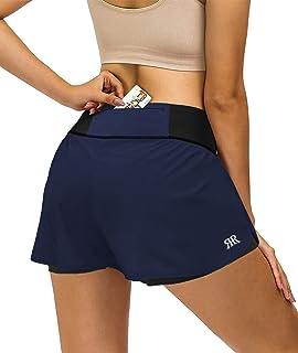 REYSHIONWA 2 合 1 跑步短裤适合女士运动锻炼运动短裤带衬里运动短裤后拉链口袋