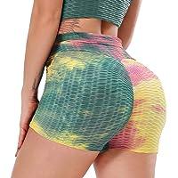 YOFIT 女式瑜伽裤运动健身房跑步休闲弹性高腰锻炼短裤热裤收腹