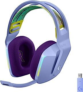 Logitech 罗技 G733 LIGHTSPEED 无线游戏耳机,带悬挂头带,LIGHTSYNC RGB,蓝色 VO!CE 麦克风技术和 PRO-G 音频驱动器 - LILAC