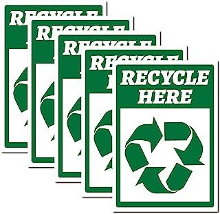 CREATCABIN 5 件回收在这里标志贴花乙烯基警告贴纸自粘标志标签防紫外线防水户外餐厅街头垃圾桶 17.78 x 25.4 厘米
