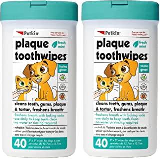 Petkin 牙菌斑牙巾,清新薄荷味,40 块湿巾,2 件装 - 天然*清洁牙齿、牙龈和清新口气 - 方便且易于使用的口腔护理牙齿宠物湿巾,适用于狗、猫、小狗和小猫
