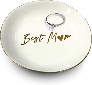 Ceramic Best Mom 戒指支架白色和装饰性金色   戒指、手链、珠宝、饰品托盘/盘子   非常适合结婚戒指、耳环、钻石戒指和订婚戒指支架   办公室和家居装饰