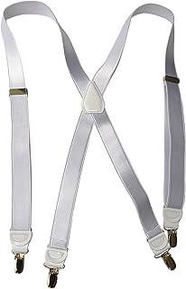 Hold-Ups X-back 2.54cm 宽背带缎面白色、镶画。 防滑银夹