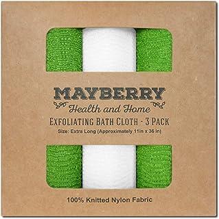 超长(91.44 厘米)去角质浴巾(3 件装)*和白色尼龙浴巾,各侧缝线,增加耐用性