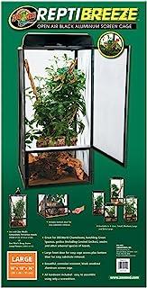 Zoo Med ReptiBreeze 屏幕玻璃容器,大号尺寸 45.72 cm 宽 x 45.72 cm 深 x 91.44 cm 高 搭配 Carolina 定制笼子六氯化合物溶液 2%;1个替换装 907.18 g 工作解决方案