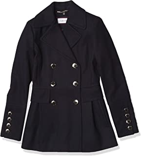 Calvin Klein 女式光面羊毛大衣 配纽扣装饰