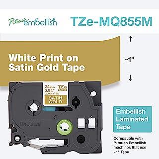 Brother 兄弟 P-Touch 刺绣白色印花缎面金色胶带 TZE-MQ855M - ~1 英寸宽 x 14 英尺长(24 毫米 x 4 米)