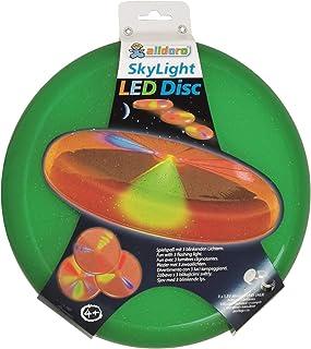 alldoro 63017 天空光盘,投掷盘直径约为27厘米,飞盘带3个LED灯,适用于海滩、花园和户外,投掷游戏,适合4岁以上儿童和成人,*