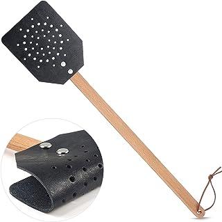 YoungJoy 皮革 Fly Swatters 重型 19 英寸(约 48.6 厘米)乡村飞翔样品手动微船控制带木制长手柄(1 包,黑色)