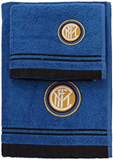inter 89070202120浴巾套装 / 100% 棉质厚,黑色 / 蓝色,100X 60X 1CM