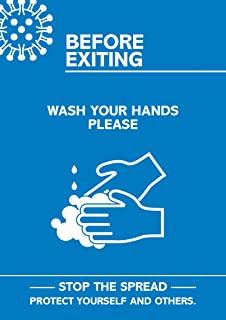 "SECO Coronavirus Essential 海报 - ""Exiting - Wash Your Hands"",A4,蓝色和白色"