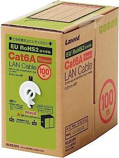 Elecom宜丽客 LAN电缆 支持 CAT6A 长尺 无连接器 符合RoHS指令 单线 REREX 100米 白色 LD-GPAL/WH100RS