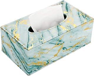 Sumnacon 矩形皮革纸巾盒支架 - 时尚餐巾架抽纸盒分配器,带磁性底面纸巾架适用于家庭办公室汽车装饰,大理石绿