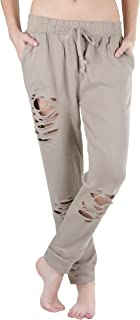 ToBeInStyle 女式抽绳腰部做旧法式厚绒布工作裤