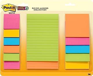 Post-it Super Sticky 便利贴,各种尺寸,13 个衬垫,2 倍粘贴力,里约热内卢系列,亮色(橙色,粉色,蓝色,*),可回收 (4623-13SSAU)