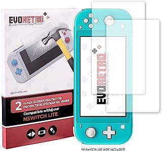 EVORETRO 钢化玻璃套件 适用于 Nintendo Switch Lite - 超清晰重型屏幕保护膜(2 件装)