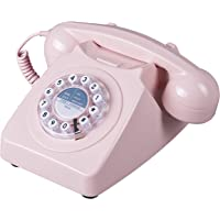 Wild and Wolf 野生木746旋转设计复古座机电话 Dusty Pink(粉红色)