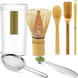 6 件抹茶茶套装,抹茶搅拌机,传统勺子,钩竹勺,茶铲,不锈钢筛子和抹茶测量勺,手工抹茶仪式套装