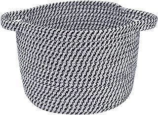 小型编织篮,用于存放棉绳篮,带手柄圆形篮子,小收纳箱,篮子育儿室,适合儿童婴儿狗玩具礼品 8.5 英寸 x 6.3 英寸 x 7.9 英寸(约 21.5 厘米 x 16 厘米 x 20 厘米),黑色