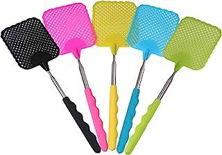 BFVV Fly Swatter 30 英寸(约 76.2 厘米)可扩展耐用,带长不锈钢手柄,彩色,5 件装重型