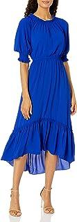 Donna Morgan 女式 3/4 罩衫袖泡绉纱超长连衣裙