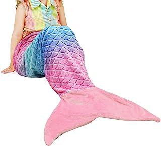 Catalonia 儿童美人鱼尾毛毯,超柔软毛绒法兰绒睡觉舒适毯,适合女孩,鱼鳞图案,送礼佳品 Rainbow Ombre/ Pink Tail Kids