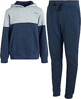 DKNY 男孩慢跑者套装 - 2 件套羊毛套头连帽衫运动衫和运动裤