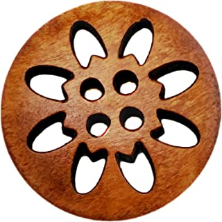 50 件 25 毫米棕色雪花雕刻 4 孔木质纽扣木制缝纫按钮,适用于 DIY 工艺(4 孔,50 个装)