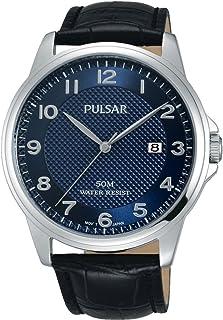 Pulsar 男式模拟经典石英手表皮革表带 PS9443X1