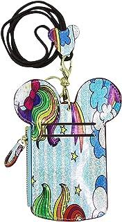 卡通图案超薄卡片夹带挂绳徽章夹 PU 皮革可爱动物形状颈部钱包,适合女士和女孩