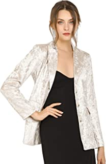 Allegra K 女式凹口翻领纹理闪亮单排扣工作外套
