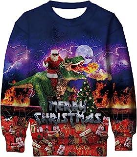 Lovekider 儿童男孩女孩圣诞丑运动衫新颖 3D 图案长袖中性圣诞毛衣 4-16 岁