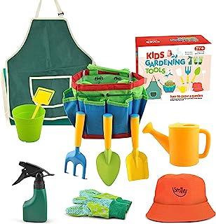 园艺工具,儿童户外玩具儿童园艺套装,4-8 岁儿童的外部玩具,沙箱玩具,铲子,耙子,叉子和花园手提包-儿童园艺一体套装