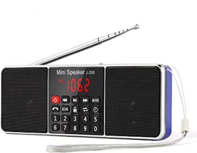 PRUNUS J-288 AM/FM 收音机便携式免提蓝牙收音机立体声扬声器,带*计时器、省电显示、超长天线、AUX 输入和 USB 磁盘和 TF 卡 MP3 播放器