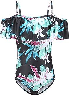 女孩连体泳衣露肩泳衣儿童夏威夷花卉泳装 3-16 岁