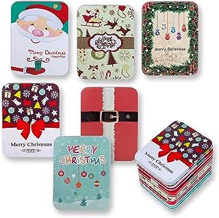 6 件装圣诞节日贺卡礼品锡盒套装礼品礼品精品季节性赠品